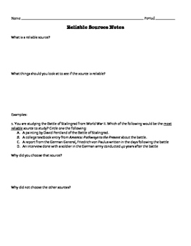 Primary and Secondary Source Notes
