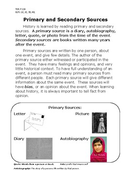 Primary and Secondary Source Readings