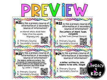 Primary and Secondary Sources Task Cards for Grades 4-6