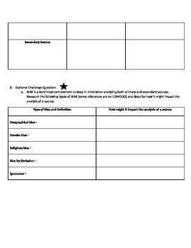 Primary and Secondary Sources: Differentiated Assignment