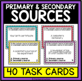 Primary and Secondary Sources- 40 Task Cards, ELA, Library