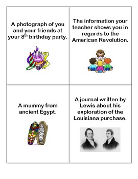 Primary and Secondary Sources Cards
