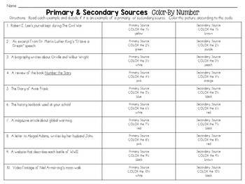 Primary and Secondary Sources: Color-By-Number