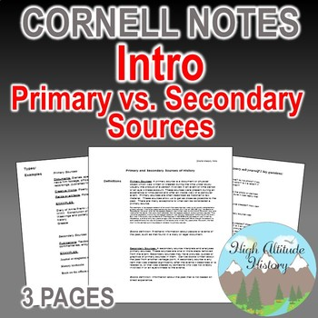 Primary and Secondary Sources Cornell Notes