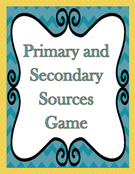 Primary and Secondary Sources File Folder Game