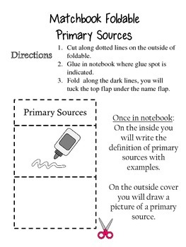 Primary and Secondary Sources Foldable for Interactive Notebook