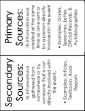Primary and Secondary Sources Handout