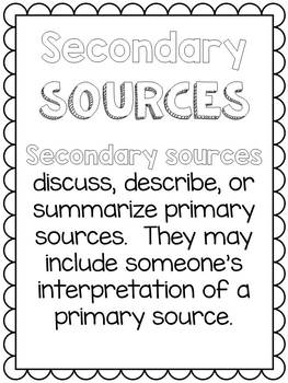 Primary and Secondary Sources Posters