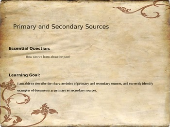 Primary and Secondary Sources Power Point Presentation