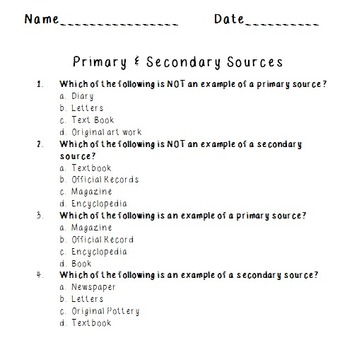 Primary and Secondary Sources Quiz by Mrs Blakeman's Classroom | TpT