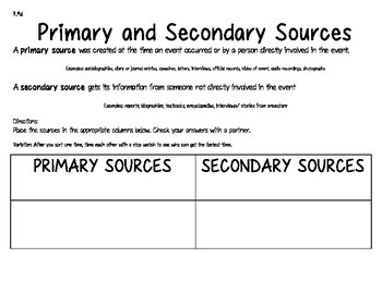 Primary and Secondary Sources Sorting Activity
