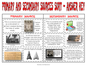 VS.1 - Primary and Secondary Sources Sort