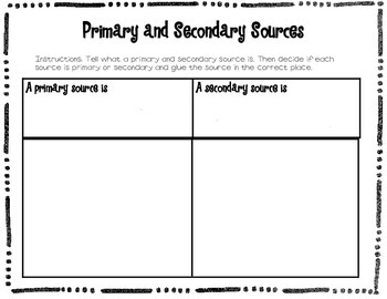 {Primary and Secondary Sources Sorting Activity}