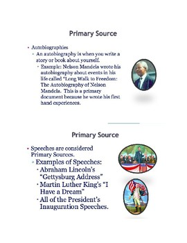Primary and Secondary Sources Sorting Activity and Lesson