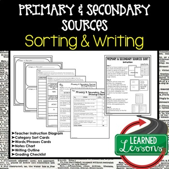 Primary and Secondary Sources Sorting and Writing Activity
