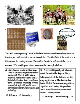 Primary and Secondary Sources Task Cards
