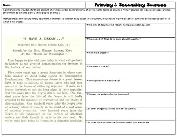 Primary and Secondary Sources Worksheet by parker rowland | TpT