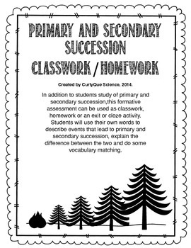 Primary and Secondary Succession Classwork/Homework