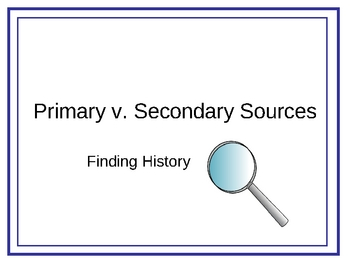Primary and Secondery Sources