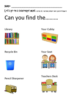 Primary back to school classroom scavenger hunt