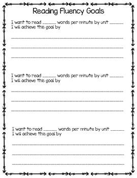 Primary data tracking and goal setting sheets