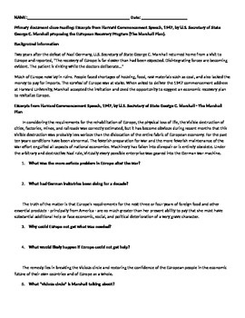 Primary document close reading - Marshall Plan
