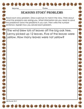Primary level Story Problems for the Seasons
