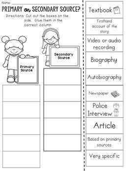 Primary and Secondary Sources : Cut and Paste Sorting Activity