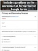 Primary or Secondary Source Worksheet