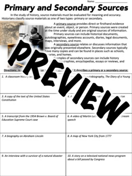 Primary or Secondary Source Worksheet by Middle School History and ...