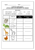 Primary science worksheet,  Animals which lay eggs vs givi
