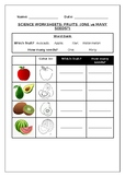 Primary science worksheets. Fruits: one or many seeds?