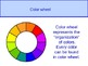 Primary, secondary colors and color wheel (circle)