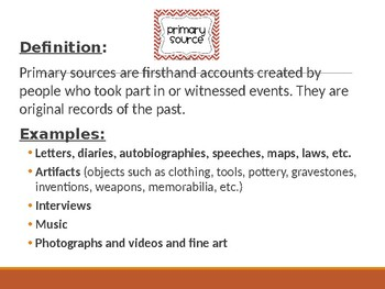 Primary v. Secondary Sources PowerPoint Lesson Activity