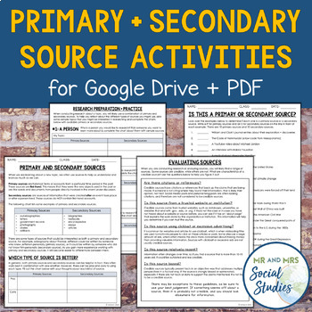 Primary vs. Secondary Source Activity   With Source Chart & Research Application