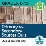 Primary vs. Secondary Source Quiz for US History: Chief Powhatan
