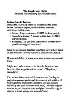 Primary vs Secondary Source Reliability