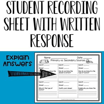 Primary vs. Secondary Source Task Cards