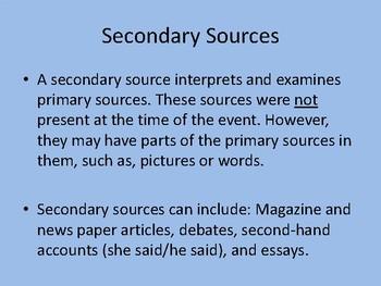 Primary vs. Secondary Sources