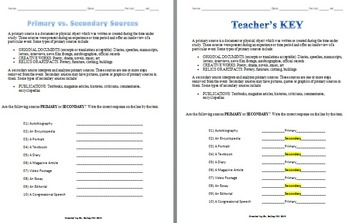 Primary vs. Secondary Sources Activity by Drew Bailey | TpT
