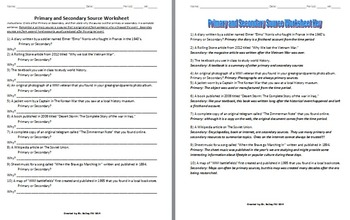 Primary vs. Secondary Sources Activity