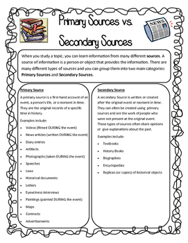 Primary vs. Secondary Sources BUNDLE