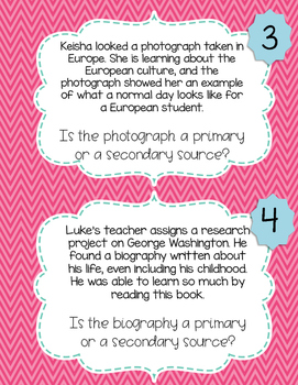 Primary vs. Secondary Sources Task Cards