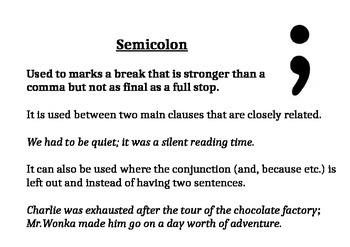 Primary/Elementary Friendly Poster on Colon, Semicolon and Dash
