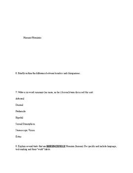 Primatology Study Guide