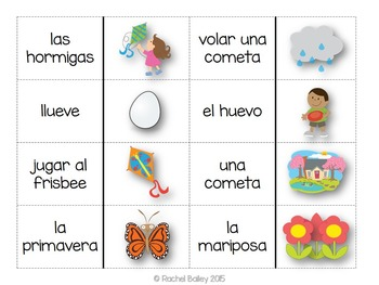 Primavera Domino Game - Spring Vocabulary Dominoes