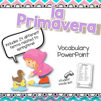 Primavera Powerpoint - Pictures and Vocab List (Spring-Related Terms)