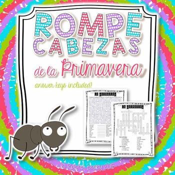 Primavera Vocab Puzzles (Spring Vocabulary Wordsearch and Crossword)