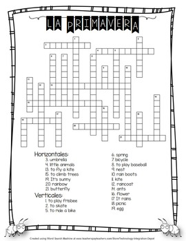 Primavera Vocab Puzzles (Spring Vocabulary Wordsearch and Crossword)