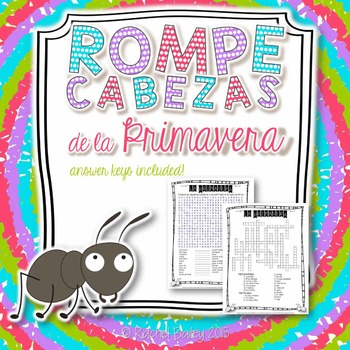 Primavera Vocab Puzzles (Spring Vocabulary Wordsearch and